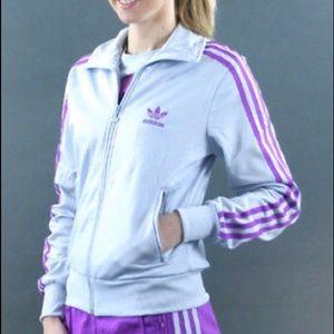 Women's gray and purple Adidas Firebird jacket XS